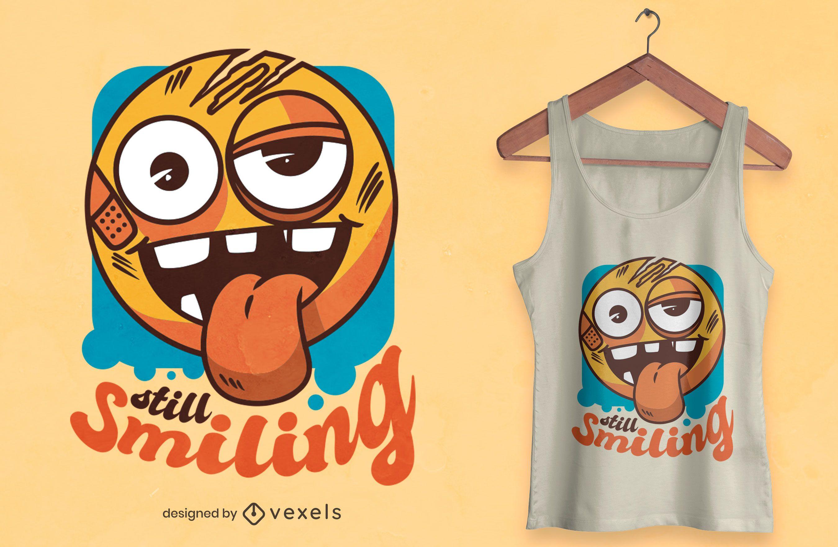 Diseño de camiseta todavía sonriendo