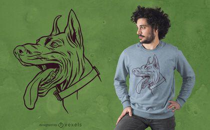 Design de t-shirt cão Dobermann