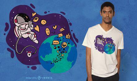 Diseño de camiseta de astronauta texting
