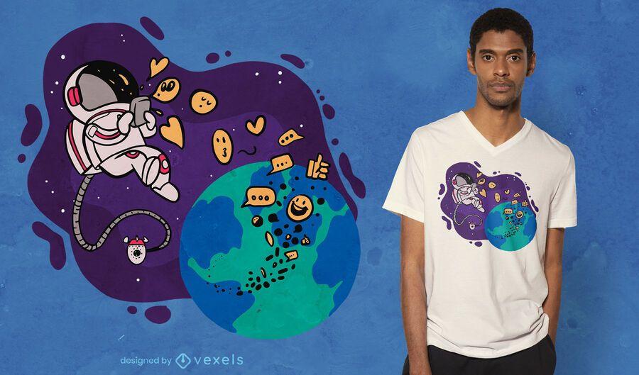 Astronaut texting t-shirt design