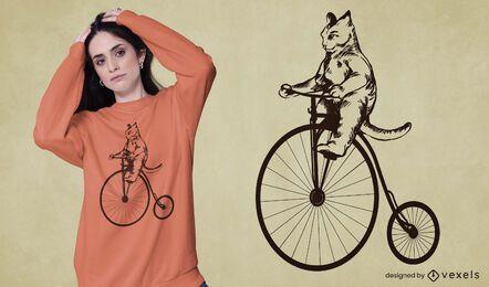 Diseño de camiseta de gato vintage