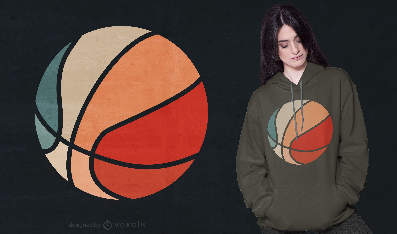 Design de camiseta retrô para basquete por do sol