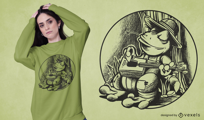 Diseño de camiseta de guitarra de caja de cigarros de rana.