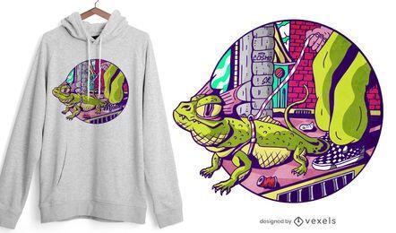 Diseño de camiseta de lagarto fresco