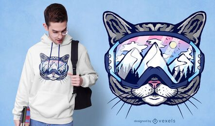 Cat ski glasses t-shirt design