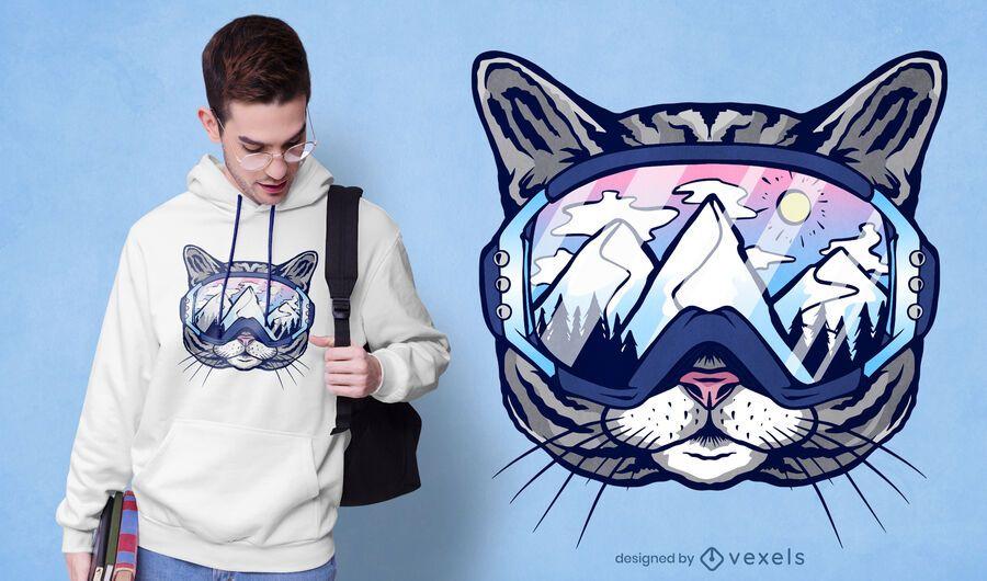 Diseño de camiseta de gafas de esquí de gato.