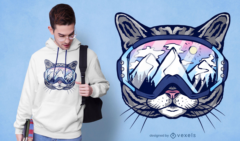 Cat ski glasses t-shirt design