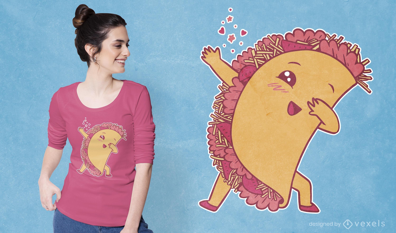 Kawaii taco dabbing t-shirt design