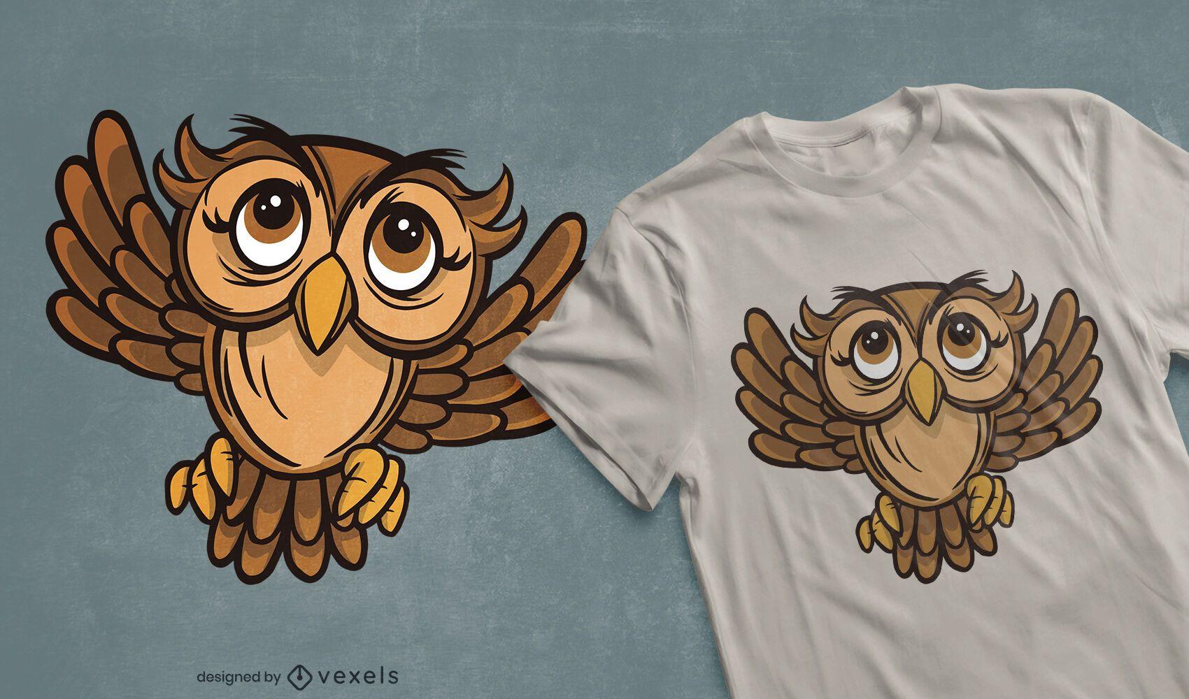 Design de t-shirt de coruja de olhos grandes