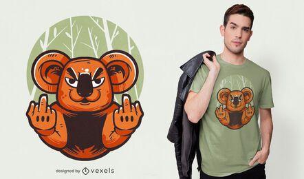 Design de t-shirt coala dedo médio