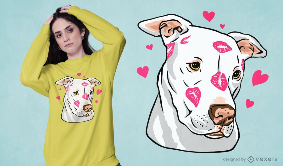 Lindo diseño de camiseta de pitbull
