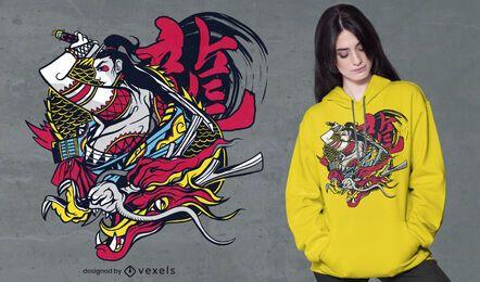 Diseño de camiseta samurai dragon