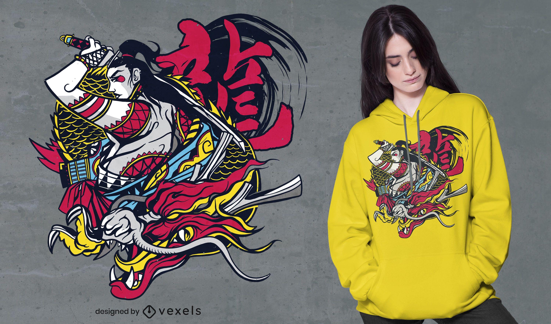 Dise?o de camiseta samurai dragon