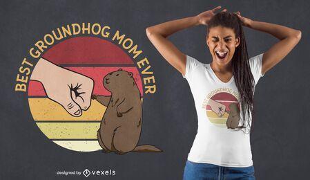 Diseño de camiseta de mamá marmota