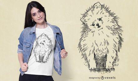 Diseño de camiseta pomerania dibujado a mano