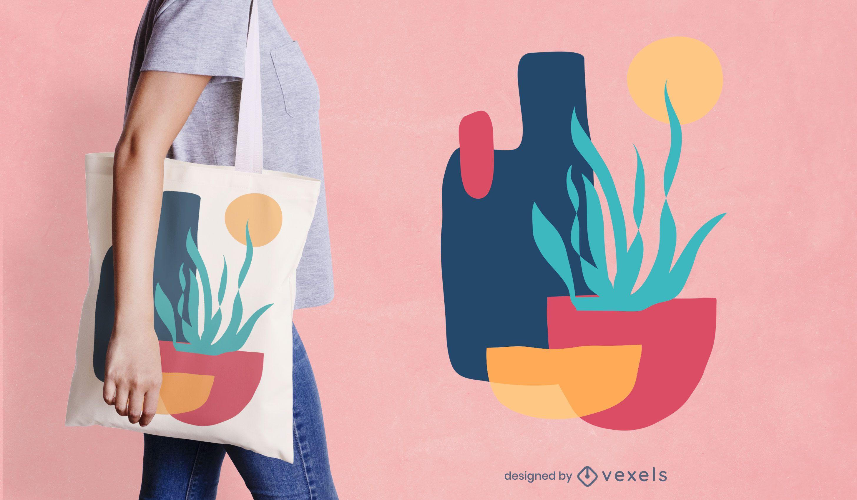 Buntes Pflanzen-Einkaufstaschendesign