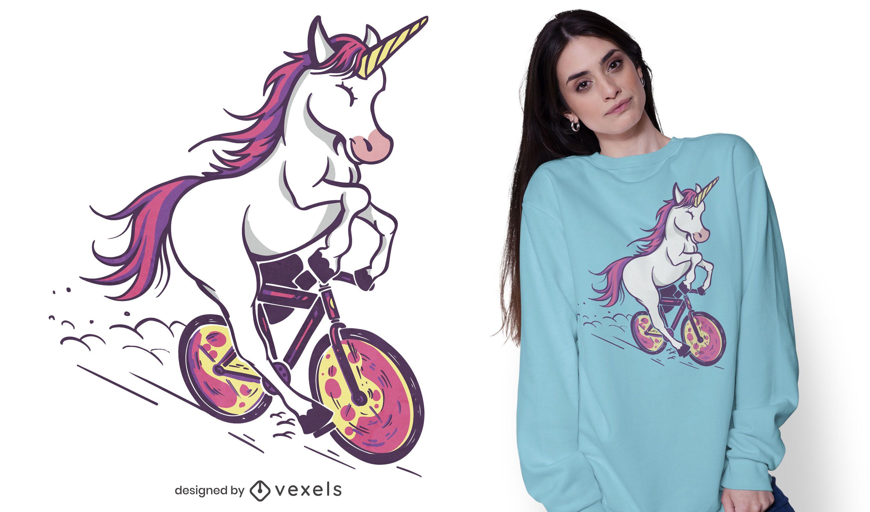 Einhorn Reiten Fahrrad T-Shirt Design