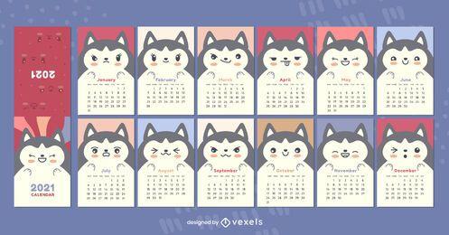 Siberian husky 2021 calendar