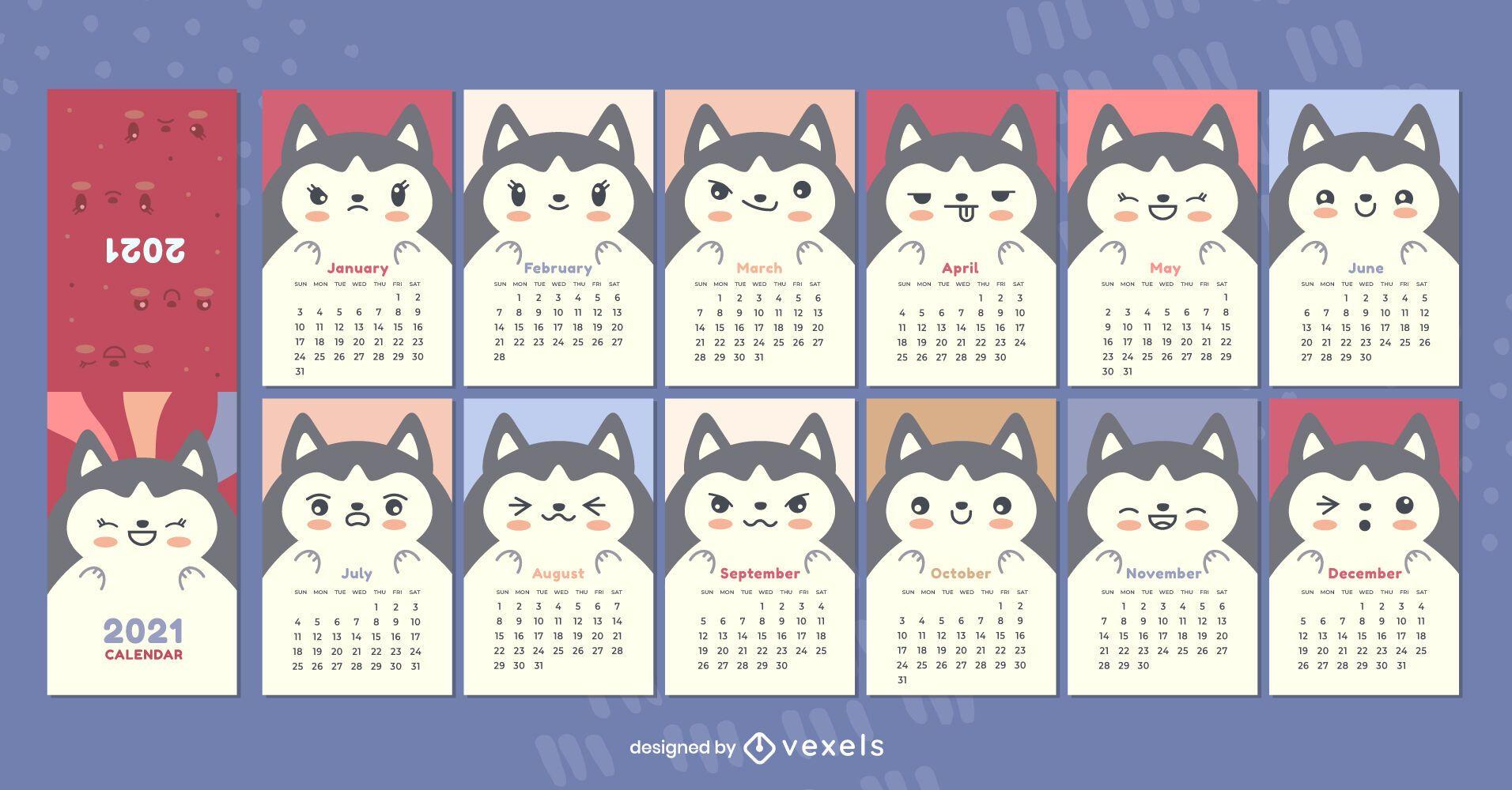 Calendário 2021 do husky siberiano