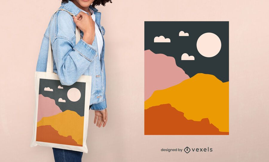 Design abstrato de sacola com montanhas