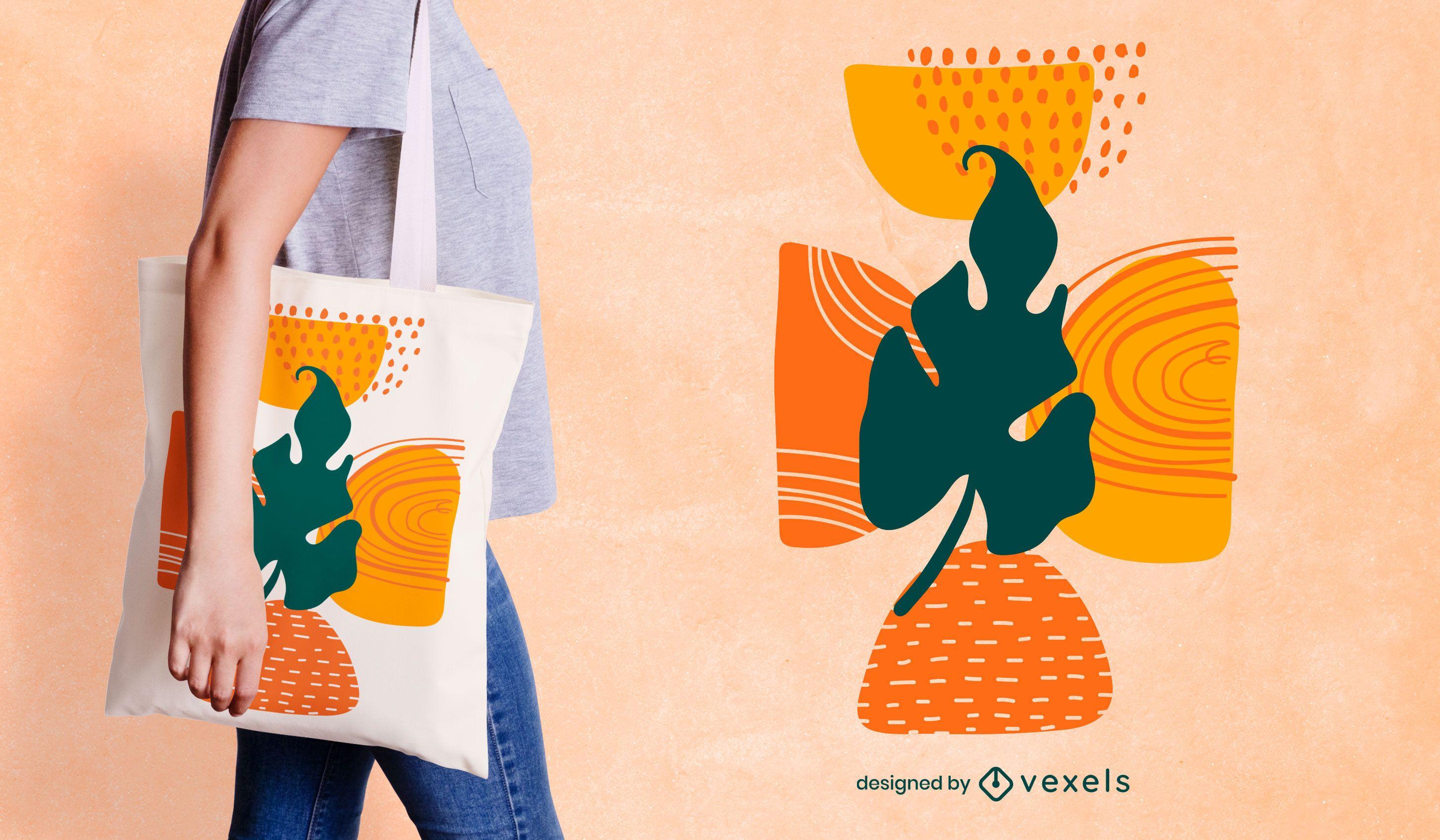 Diseño de bolso tote con forma de hoja