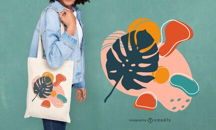 Shapes leaf tote bag design