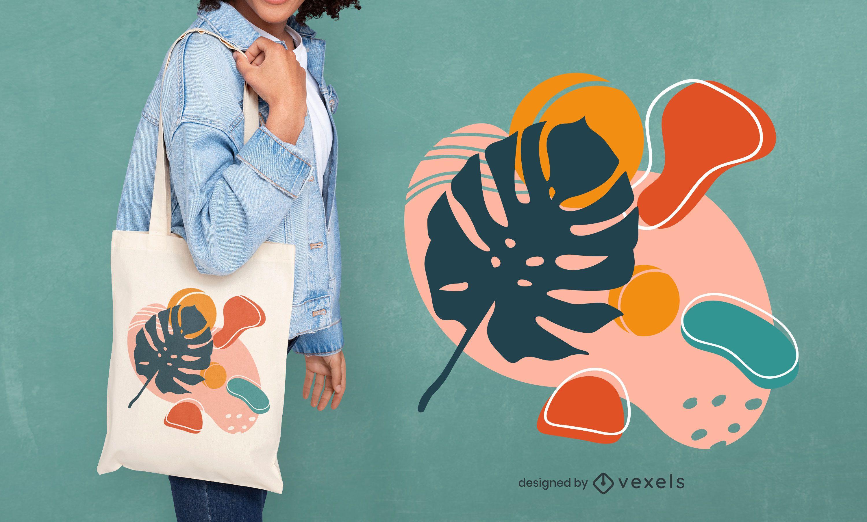 Shapes leaf tote bag design