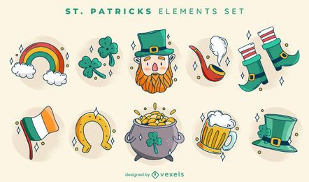 St Patricks cute element set