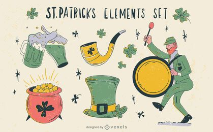 St Patricks hand-drawn element set