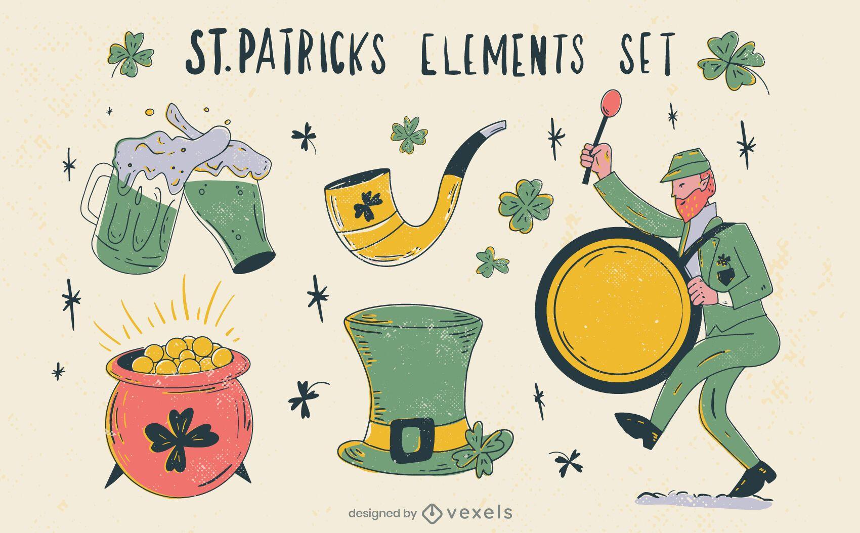 Conjunto de elementos dibujados a mano de St Patricks