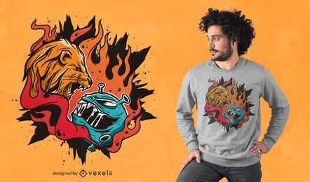 Diseño de camiseta Lion vs Covid