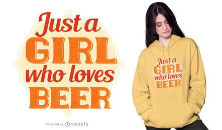 Chica que ama el diseño de camisetas de cerveza.