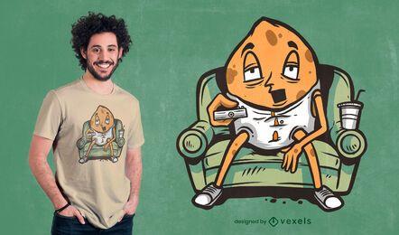 Design de t-shirt viciado em sofá