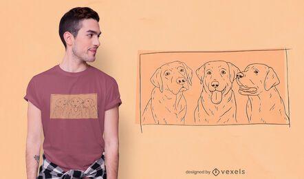 Design de camiseta do Labradors desenhado à mão