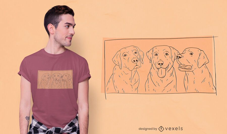 Diseño de camiseta de labradores dibujados a mano