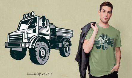 Design preto e branco de camiseta de caminhão