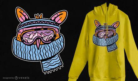 Design de t-shirt da coruja de esqui