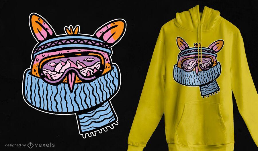Diseño de camiseta de búho de esquí