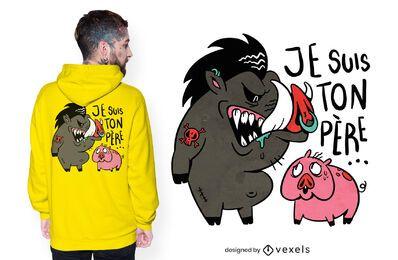 Diseño de camiseta de jabalí y cerdo.