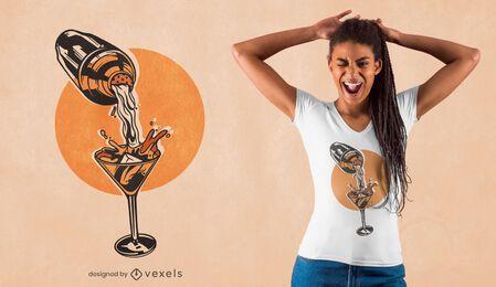 Diseño de camiseta de copa de martini de cóctel.