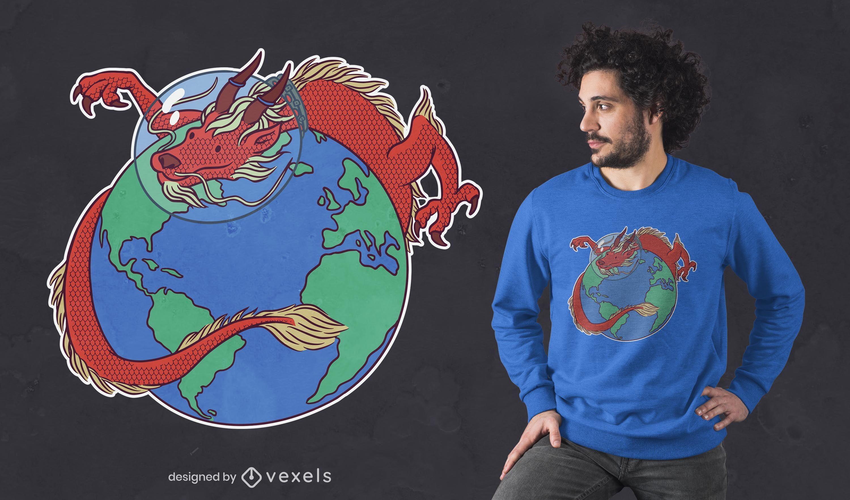 Diseño de camiseta de dragón astronauta.