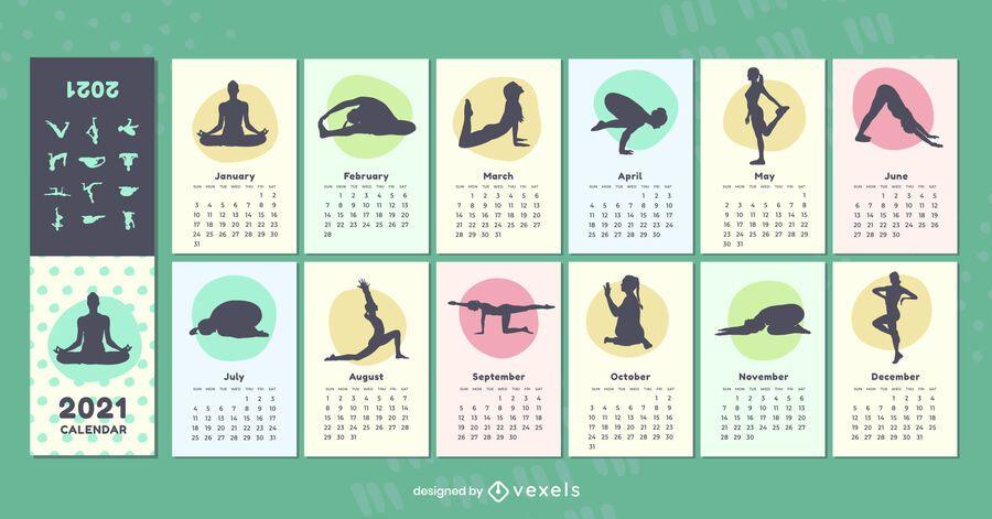 Calendário de poses de ioga