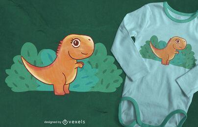 Design de t-shirt em aquarela para bebê T-Rex
