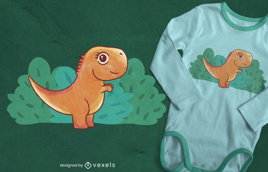 Baby T-Rex watercolor t-shirt design