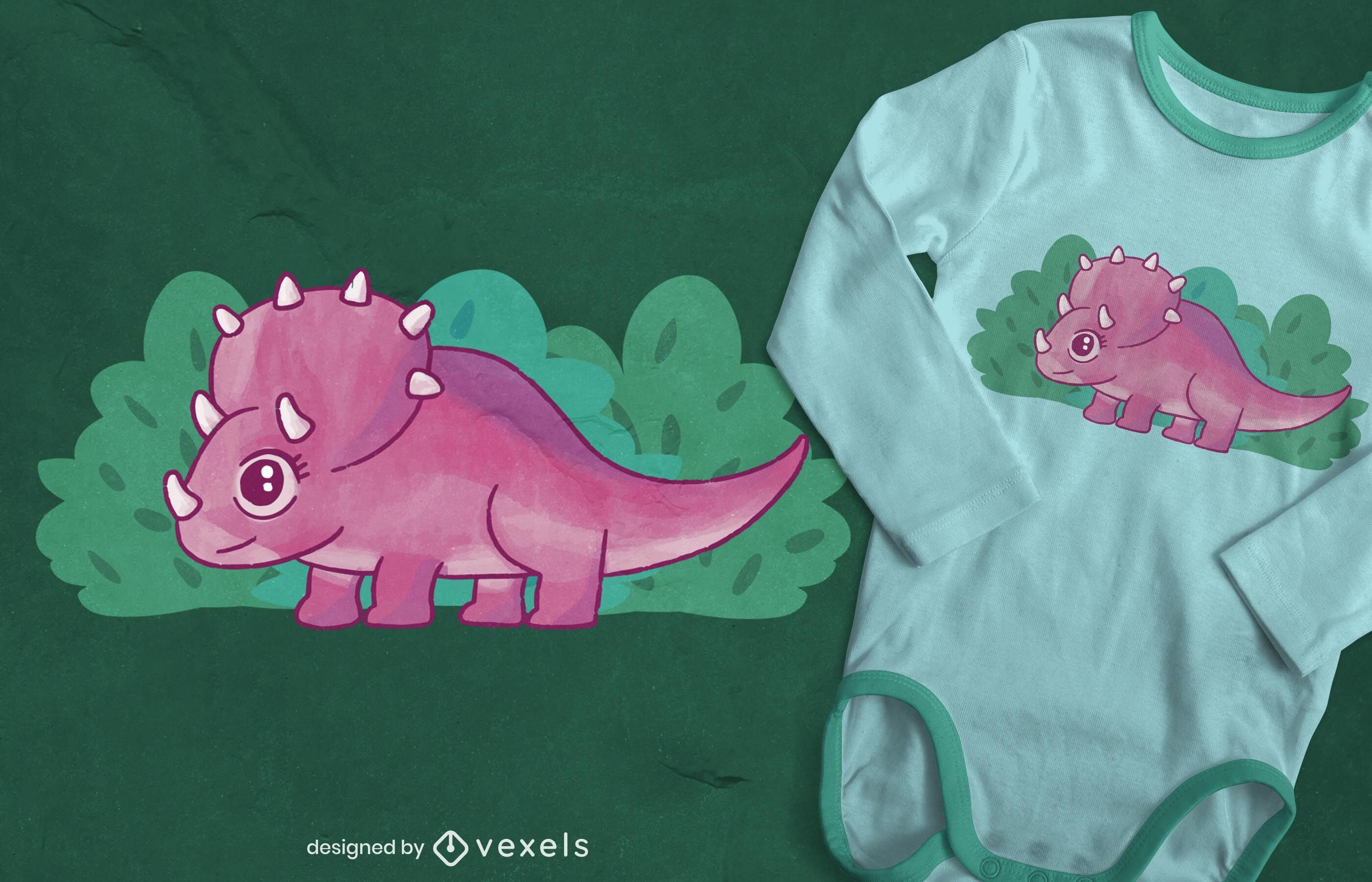 Baby triceratops watercolor t-shirt design