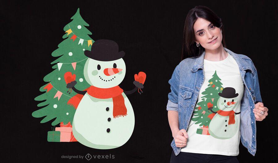Diseño de camiseta de árbol de Navidad de muñeco de nieve