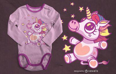 Diseño de camiseta bebé unicornio