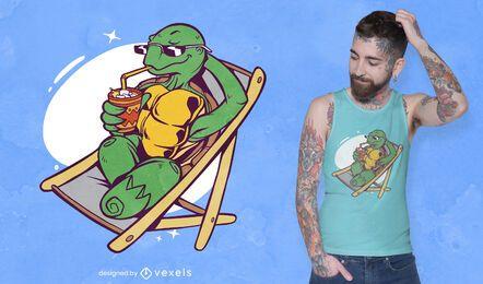 Design de camiseta de tartaruga de verão
