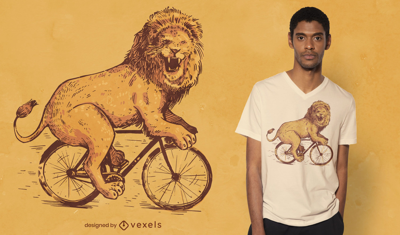 Diseño de camiseta de león de bicicleta.