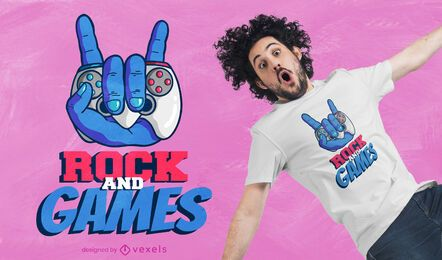Diseño de camiseta de rock and games.